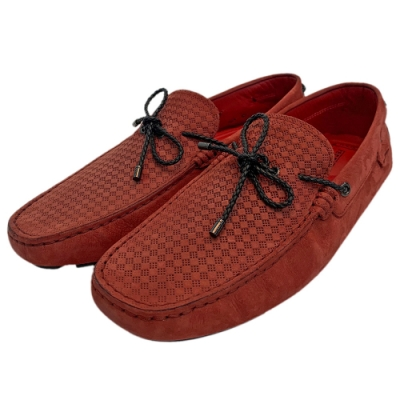 TOD'S 聯名FERRARI麂皮綁帶手工豆豆鞋(紅)