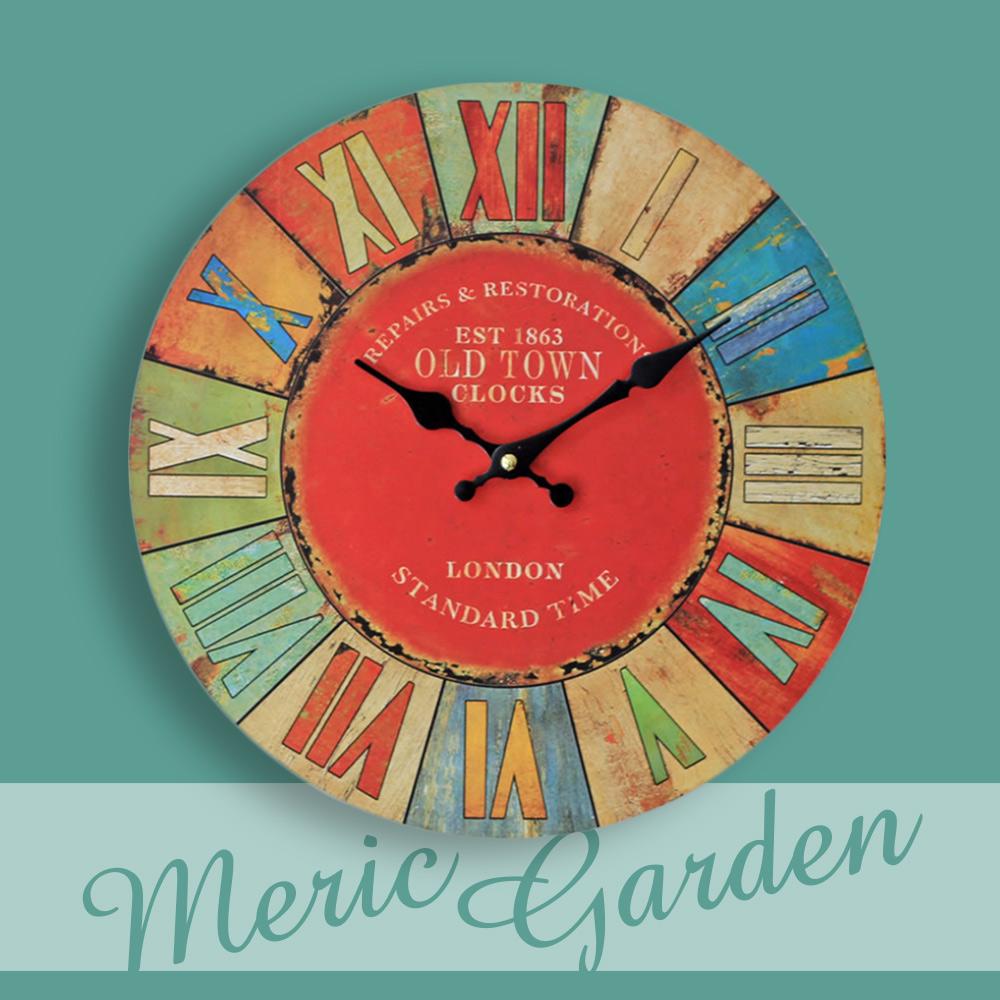 【Meric Garden】風格仿舊裝飾壁掛式時鐘/壁鐘/掛鐘(彩繪羅馬數字)