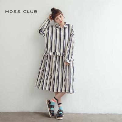 【MOSS CLUB】直條紋長版襯衫-連身裙(二色)