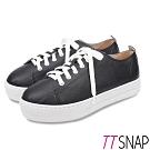 TTSNAP休閒鞋-MIT簡約綁帶輕量真皮厚底鞋 黑