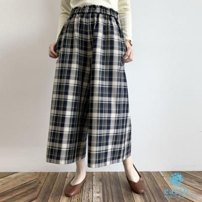 earth music 素面/格紋定番鬆緊腰寬褲裙