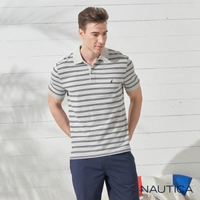 Nautica經典條紋短袖POLO衫-灰色