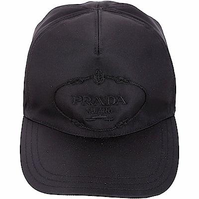 PRADA 品牌家徽刺繡尼龍棒球帽(黑色)