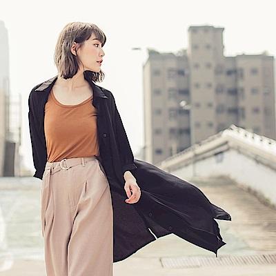 純色雪紡澎袖襯衫/洋裝/罩衫-OB大尺碼