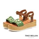 Tino Bellini義大利進口珍珠點點舒適厚底涼鞋_綠