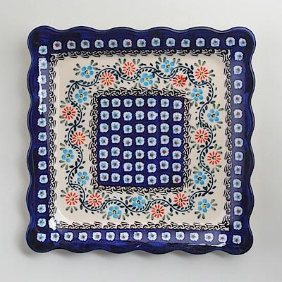 波蘭陶手工製 典雅花團 方形餐盤24cm