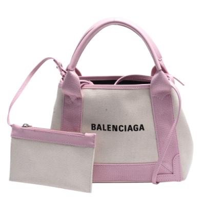 BALENCIAGA 經典NAVY系列牛皮飾邊手提/斜背帆布包(XS-玫瑰粉)