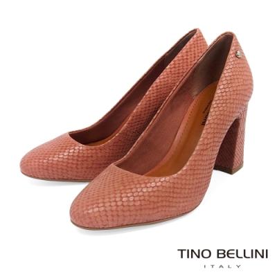Tino Bellini巴西進口神祕蛇紋牛皮高跟鞋_粉