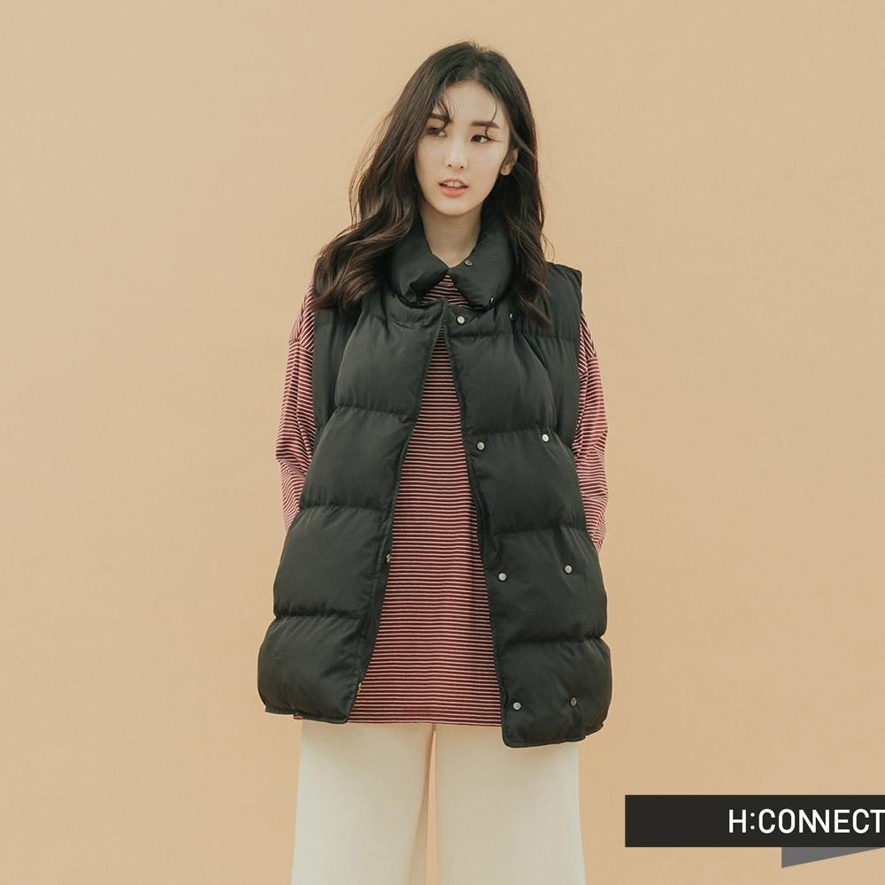 H:CONNECT 韓國品牌 女裝-立領造型羽絨背心-黑