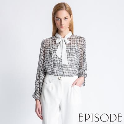 EPISODE - 優雅幾何綁帶領雪紡上衣(黑)