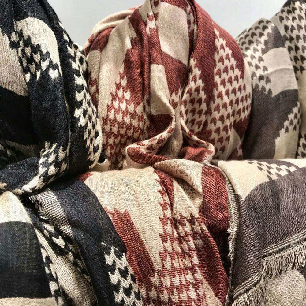 圍巾 正韓千鳥紋優質雙面流蘇圍巾(紅) N2