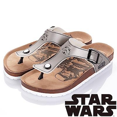 (雙11)StarWars 星際大戰-白兵 減壓腳床型夾腳拖鞋-銀