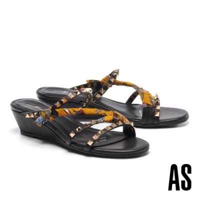 拖鞋 AS 輕龐克鉚釘緞布羊皮楔型低跟拖鞋-黃