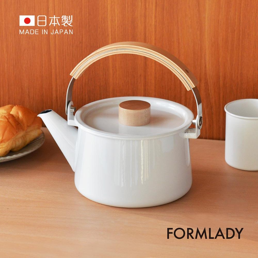 日本FORMLADY 小泉誠 kaico日製原木柄琺瑯茶壺-1.45L (IH爐可使用)