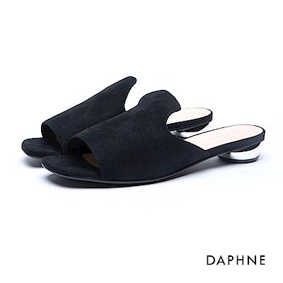 達芙妮DAPHNE 拖鞋-穆勒款絨面金屬低跟拖鞋-黑