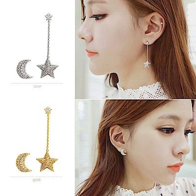 梨花HaNA 無耳洞韓國星星月亮不對襯夜語耳環夾式