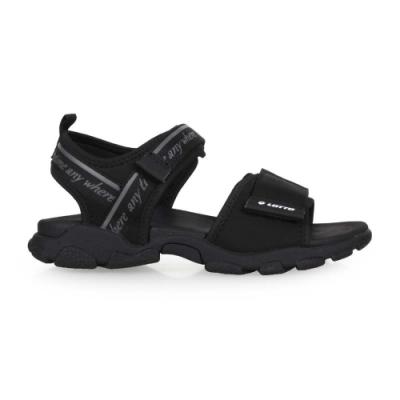 LOTTO 女美型健走運動涼鞋-魔鬼氈 海邊 海灘 戲水 LT0AWS2070 黑灰
