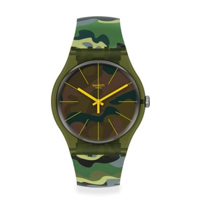 Swatch 原創系列手錶 CAMOUFOREST 迷彩森林綠-41mm