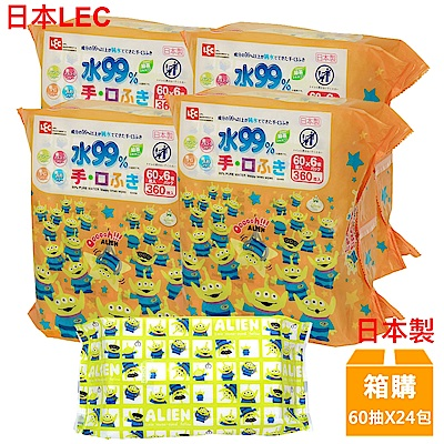 日本LEC 迪士尼三眼怪-口手專用純水99%濕紙巾-60抽x24包入/箱