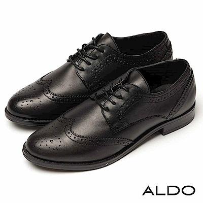 ALDO 原色真皮幾何流線雕花綁帶木紋粗跟牛津鞋~尊爵黑色