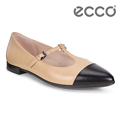 ECCO SHAPE POINTY BALLERINA 氣質尖頭縷空平底鞋 女-裸色