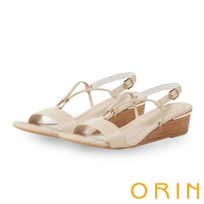 ORIN 真皮V字金屬楔型 女 涼鞋 裸色