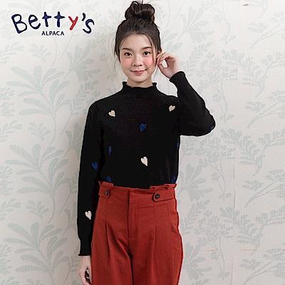 betty's貝蒂思 小愛心混羊毛針織線衫(黑色)