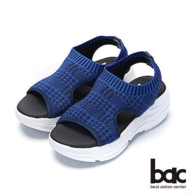 bac加州陽光-輕量化千鳥紋飛織布運動風厚底涼鞋-藍