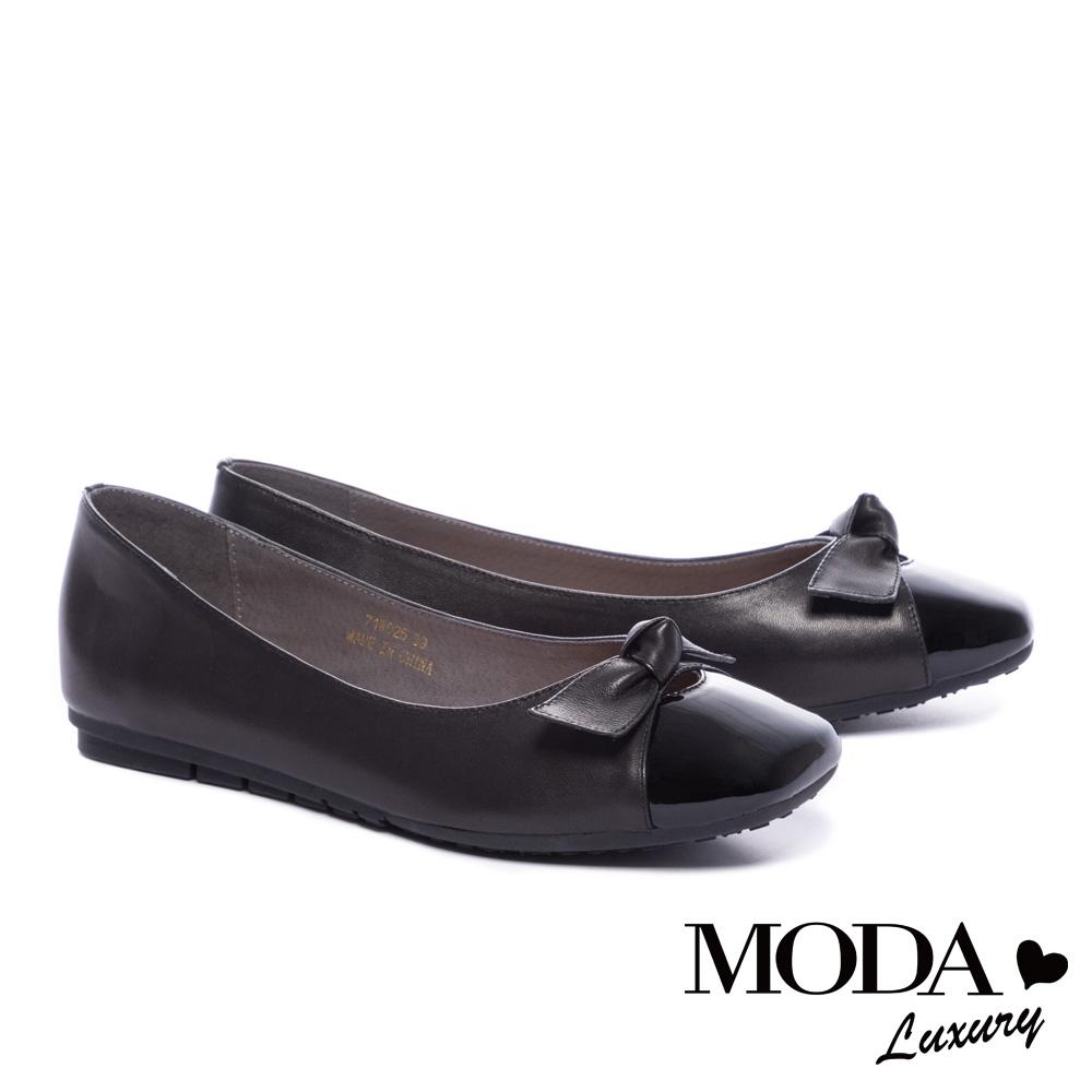 平底鞋 MODA Luxury 優雅蝴蝶結全真皮方頭平底鞋-黑