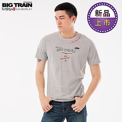 BigTrain潮人文字圓領短袖T-男-麻灰