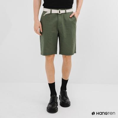 Hang Ten-男裝-REGULAR FIT附腰帶短褲-綠色