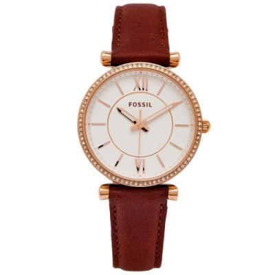 FOSSIL 鑽鑲設計款的皮革女性手錶(ES4428)-白面X咖啡色/34mm