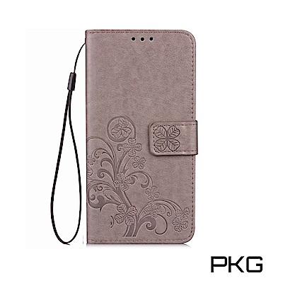 PKG IPHONE X  側翻式皮套-精選皮套系列-幸運草-時尚灰