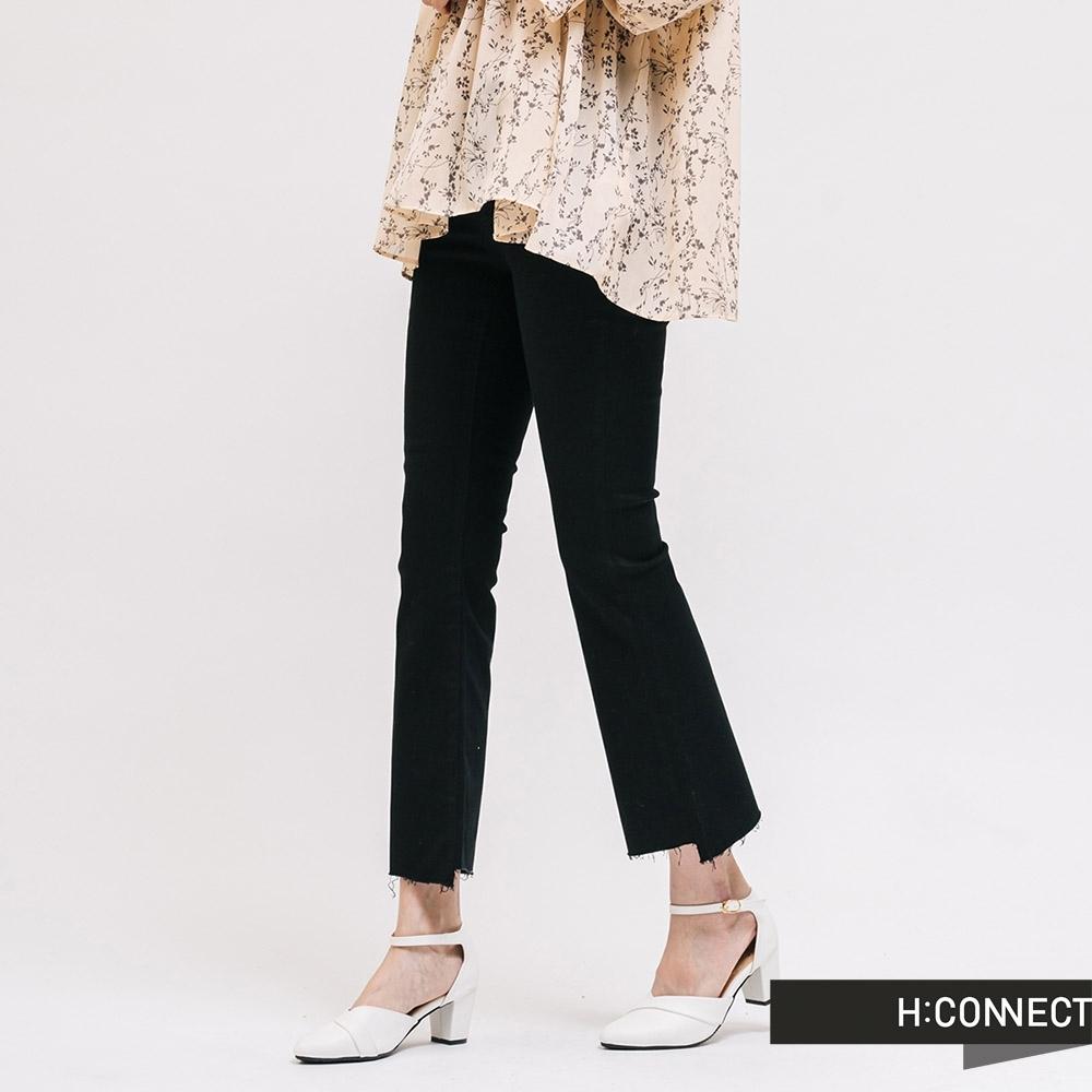H:CONNECT 韓國品牌 女裝 -隨性不收邊靴型褲-黑