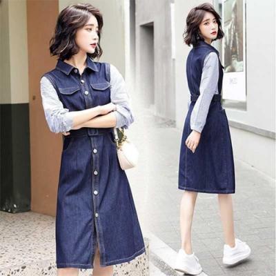 【韓國K.W.】(預購)好感個性撞色牛仔洋裝
