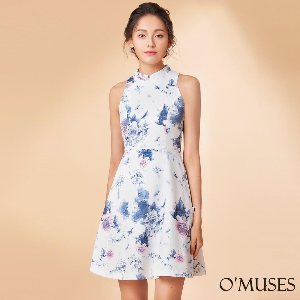 OMUSES 削肩印花旗袍式洋裝