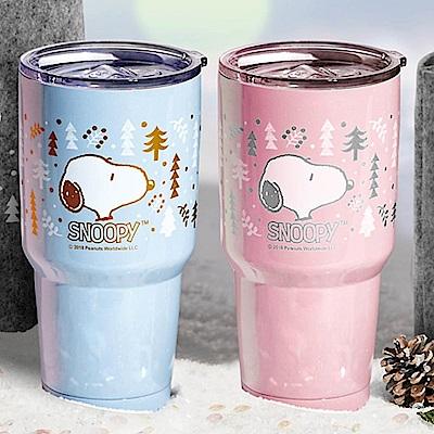 史努比SNOOPY 下雪森林304不鏽鋼陶瓷內膽真空冰霸杯900ml加贈提袋-2色任選(快)