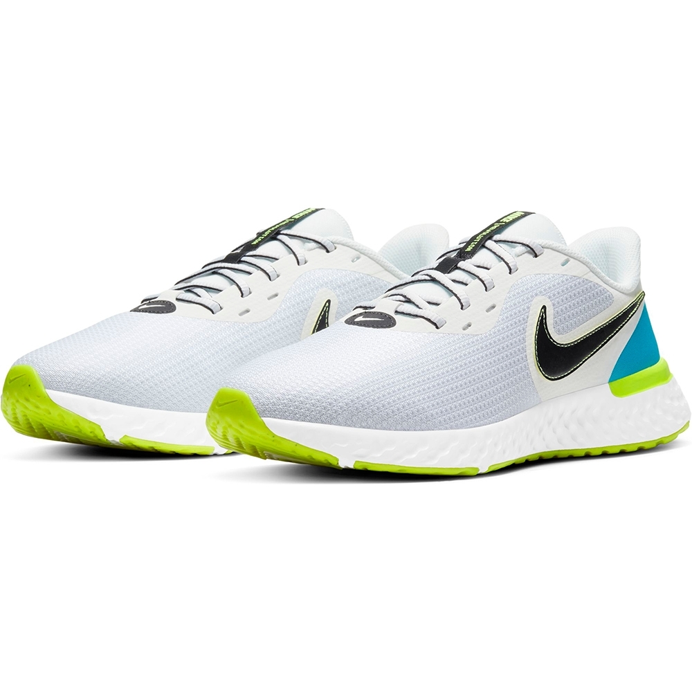 NIKE 慢跑鞋 運動鞋 緩震 男鞋 白黑藍 CZ8591-102 REVOLUTION 5 EXT