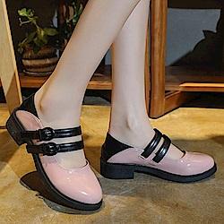 韓國KW美鞋館 時尚元素星圖後粗紅白粗跟鞋-粉色