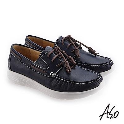 A.S.O 3D超動能 舒適耐穿圓楦休閒鞋 藍