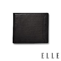 ELLE HOMME 壓紋Logo系列-3卡上翻窗格真皮皮夾/短夾/零錢袋- 紳士黑