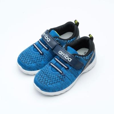 艾樂跑Arriba童鞋 魔鬼氈針織運動鞋-藍/粉 (TD-6276)