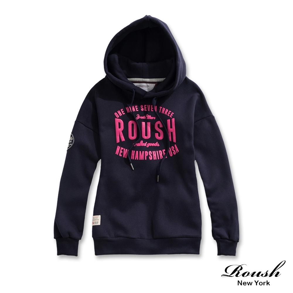 Roush 女生ROUSH美式字樣刷毛帽TEE(2色)