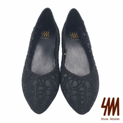 【SM】尖頭縷空透膚水鑽平底淑女鞋