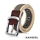 KANGOL EVOLUTION系列 英式潮流休閒針釦式皮帶- 卡其條紋 KG1181