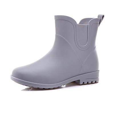 韓國KW美鞋館-簡約隨興防水輕量名牌可拆卸長筒雨鞋 灰