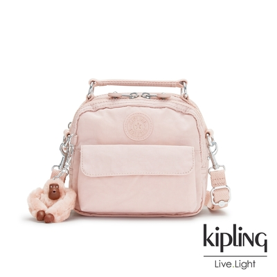 Kipling 甜美粉嫩色拉鍊兩用側背後背包-PUCK