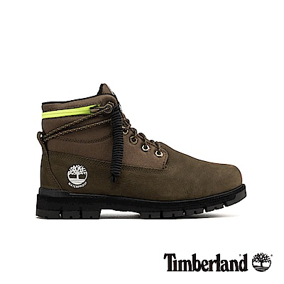 Timberland 男款軍綠色拉鍊領反摺靴|A24BM