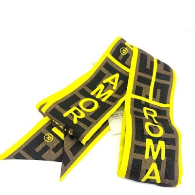 FENDI 經典 Fendi Roma Amor 120CM 長型絲巾綁帶(螢光黃)