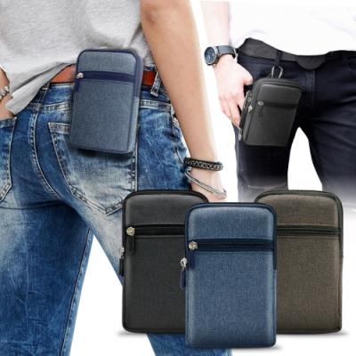 Aisure for SONY Xperia 10 II/Sony Xperia 1 II 時尚前端雙層拉鍊帆布腰包